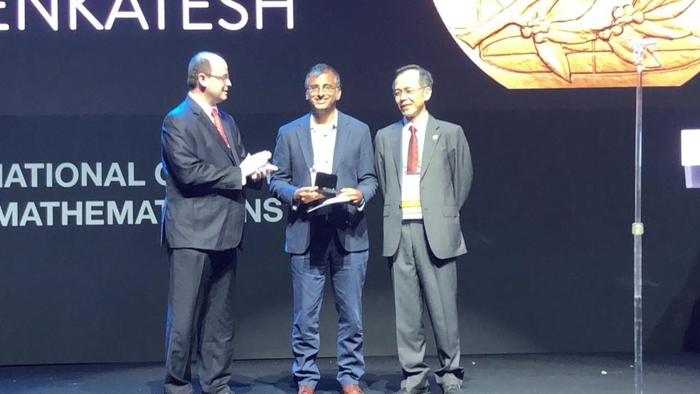 O indiano Akshay Venkatesh também recebeu a medalha Fields (Foto: Bruno Albernaz/ G1)