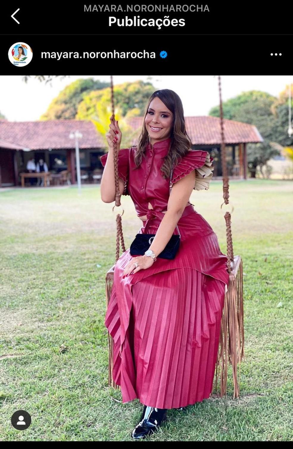 Primeira-dama Mayara Noronha em festa de aniversário do governador Ibaneis Rocha — Foto: Instagram/Reprodução