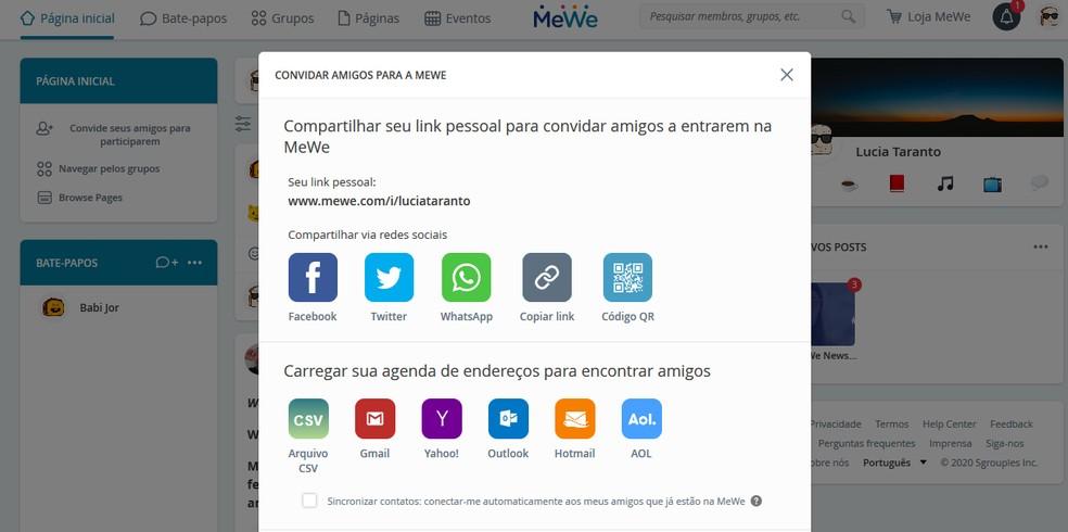 Usuários podem usar a integração da MeWe com outros serviços para enviar convites — Foto: Reprodução / Barbara Ablas