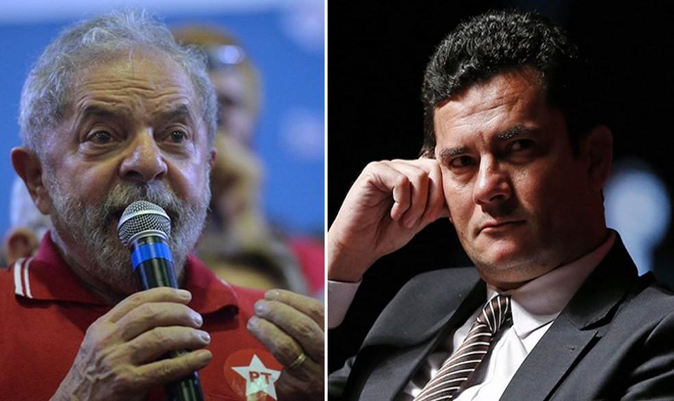 Montagem com fotos do ex-presidente Luiz Inácio Lula da Silva e do ministro da Justiça, Sérgio Moro — Foto: Reprodução/G1