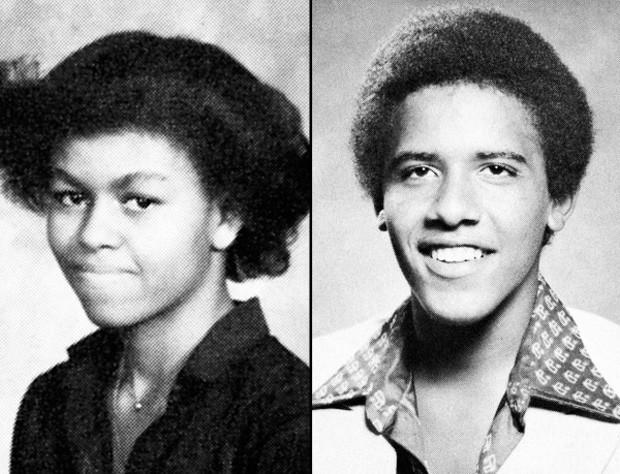 Michelle Obama e Barack Obama na adolescência (Foto: Reprodução)