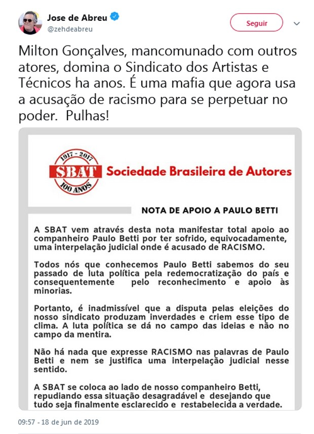 Post de José de Abreu (Foto: Reprodução/Twitter)