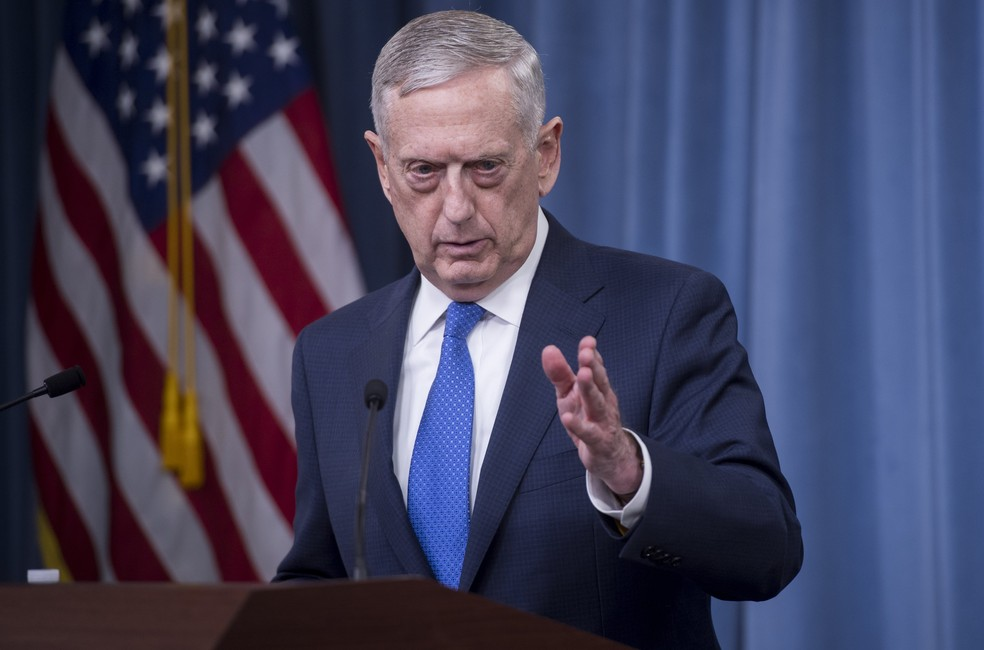 Secretário de Defesa dos Estados Unidos, Jim Mattis, em coletiva de imprensa em maio deste ano (Foto: Saul Loeb / AFP)