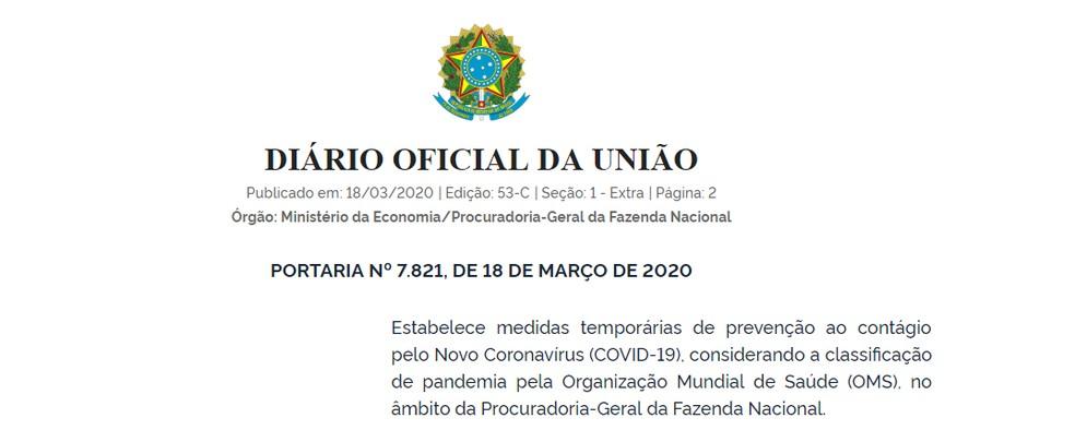 Portaria publicada no Diário Oficial da União — Foto: Reprodução