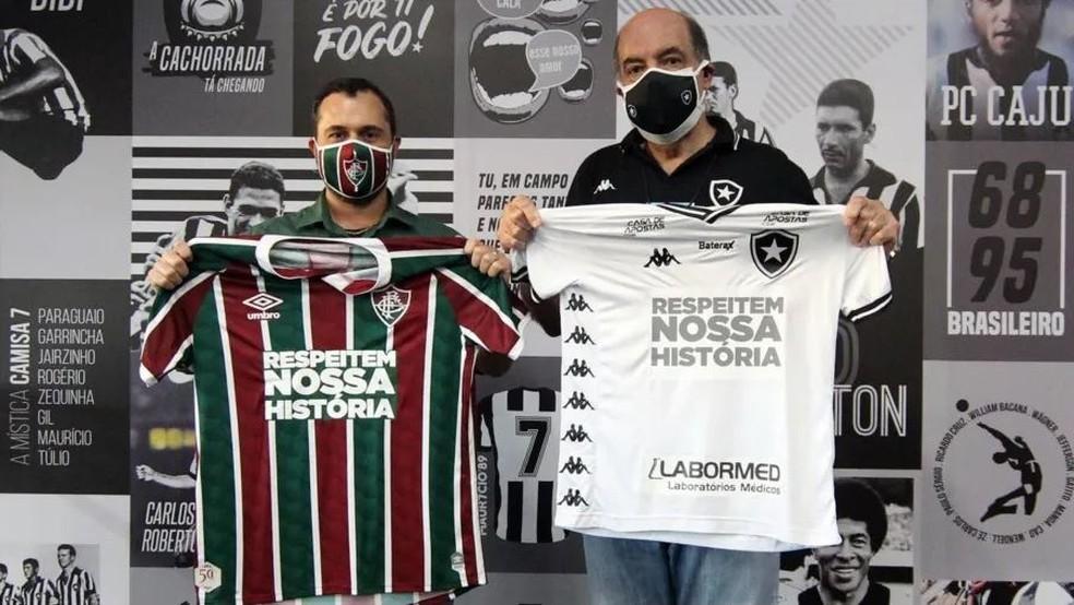 Mário Bittencourt e Nelson Mufarrej, presidentes de Fluminense e Botafogo — Foto: Vitor Silva/Botafogo