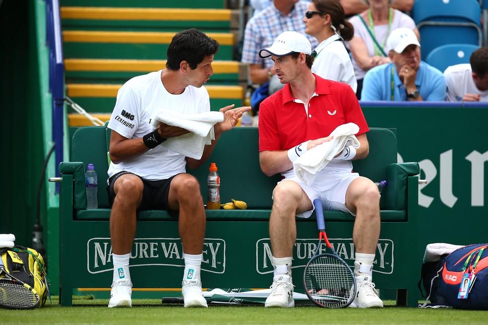 Nas duplas, Murray chegou a jogar com Marcelo Melo em Eastbourne — Foto: Charlie Crowhurst/Getty Images for LTA
