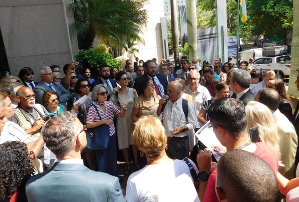 Ato pela Justiça do Trabalho no Centro do Rio — Foto: Divulgação/Amantra