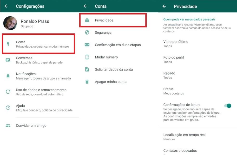 Veja como configurar privacidade da sua conta no WhatsApp — Foto: Reprodução