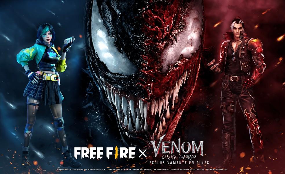 Garena confirmou parceria do Free Fire com o Venom — Foto: Divulgação/Garena