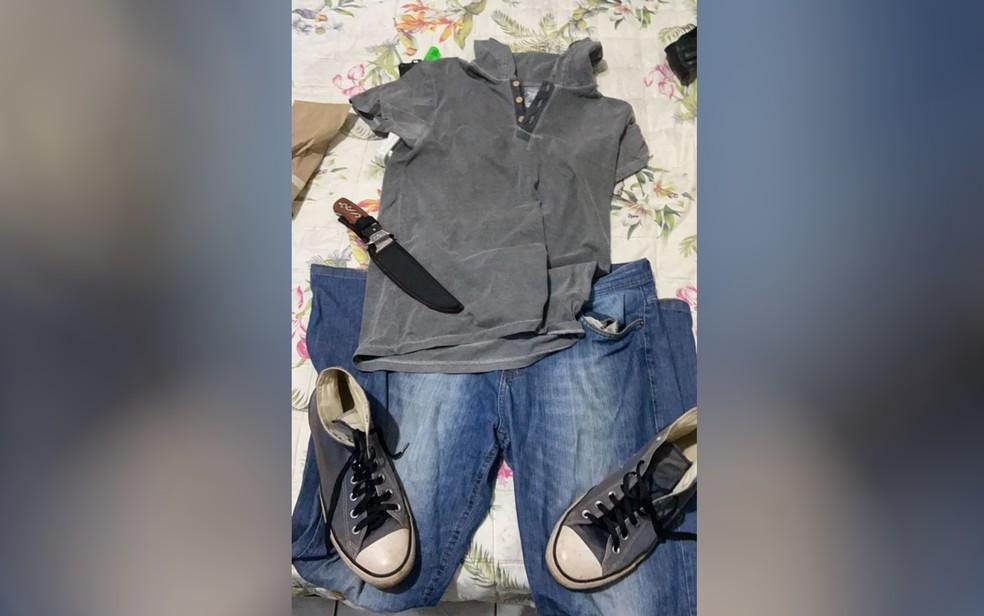Polícia apreendeu faca usada para matar Adriane Laureano em Goiânia, Goiás — Foto: Reprodução/TV Anhanguera