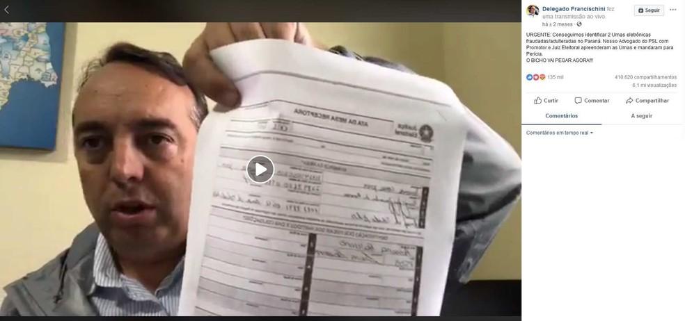 Vídeo postado por Fernando Francischini no dia das eleições teve 6 milhões de visualizações — Foto: Reprodução/Facebook