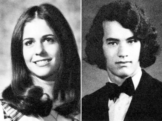 Rita Wilson e Tom Hanks na adolescência (Foto: Reprodução)