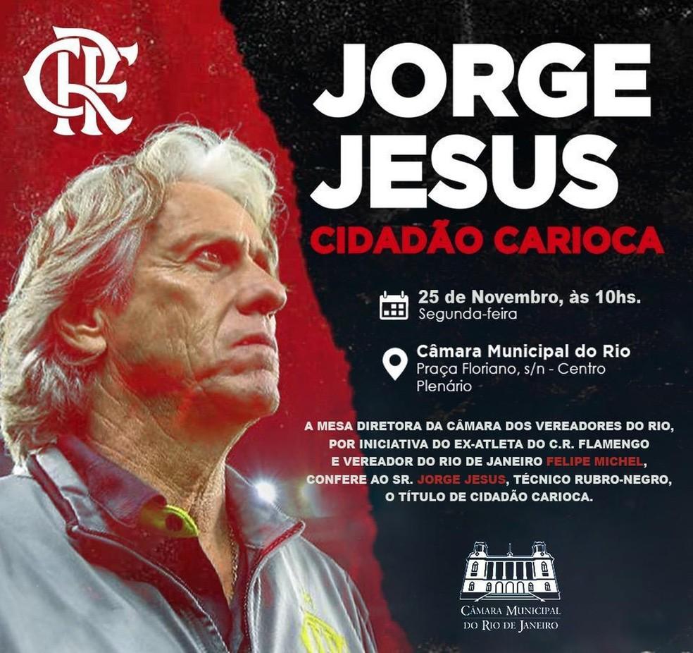 Jorge Jesus é homenageado na Câmara do Rio — Foto: Divulgação