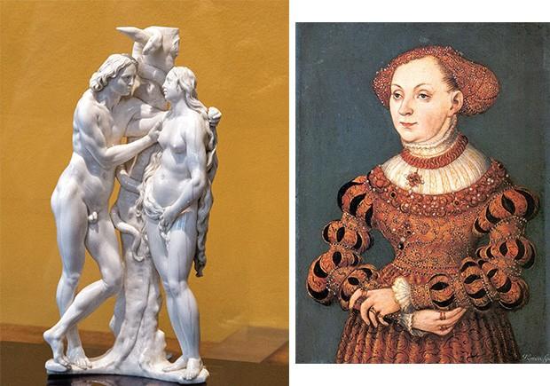 A arte do crime. Escultura de marfim de Adão e Eva, de Georg Petel, e a Sibylle of Cleves, de Lucas Cranach, somam-se a mais de 300 objetos levados por Breitwieser e Kleinklaus (Foto: Bridgeman/Fotoarena)