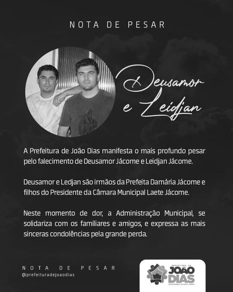 Nota de pesar emitida pela Prefeitura de João Dias após morte de suspeitos de tráfico de drogas com a polícia. — Foto: Reprodução