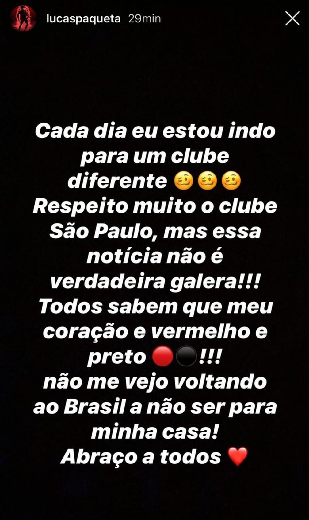 Lucas Paquetá, do Milan, desmente possível ida ao São Paulo e dá prioridade ao Flamengo — Foto: Reprodução