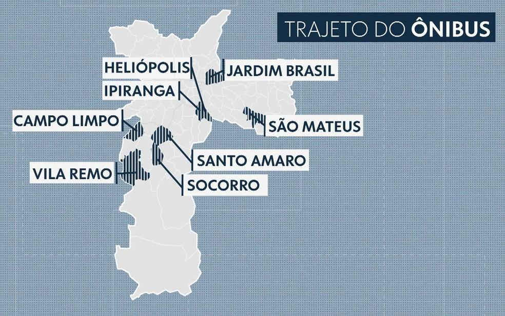 Veja o trajeto do ônibus em São Paulo antes de seguir viagem (Foto: TV Globo/Reprodução)