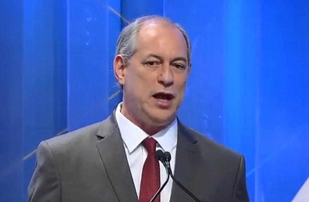O presidenciável Ciro Gomes (PDT) no debate da RedeTV! (Foto: Reprodução/RedeTV!)