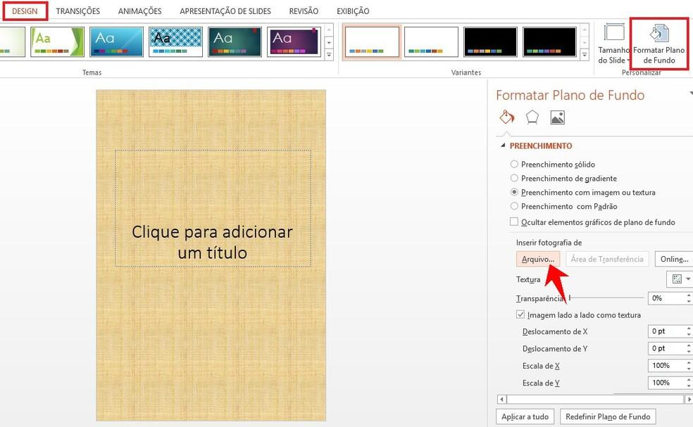 Mudando o plano de fundo de um slide do PowerPoint — Foto: Reprodução/Rodrigo Fernandes