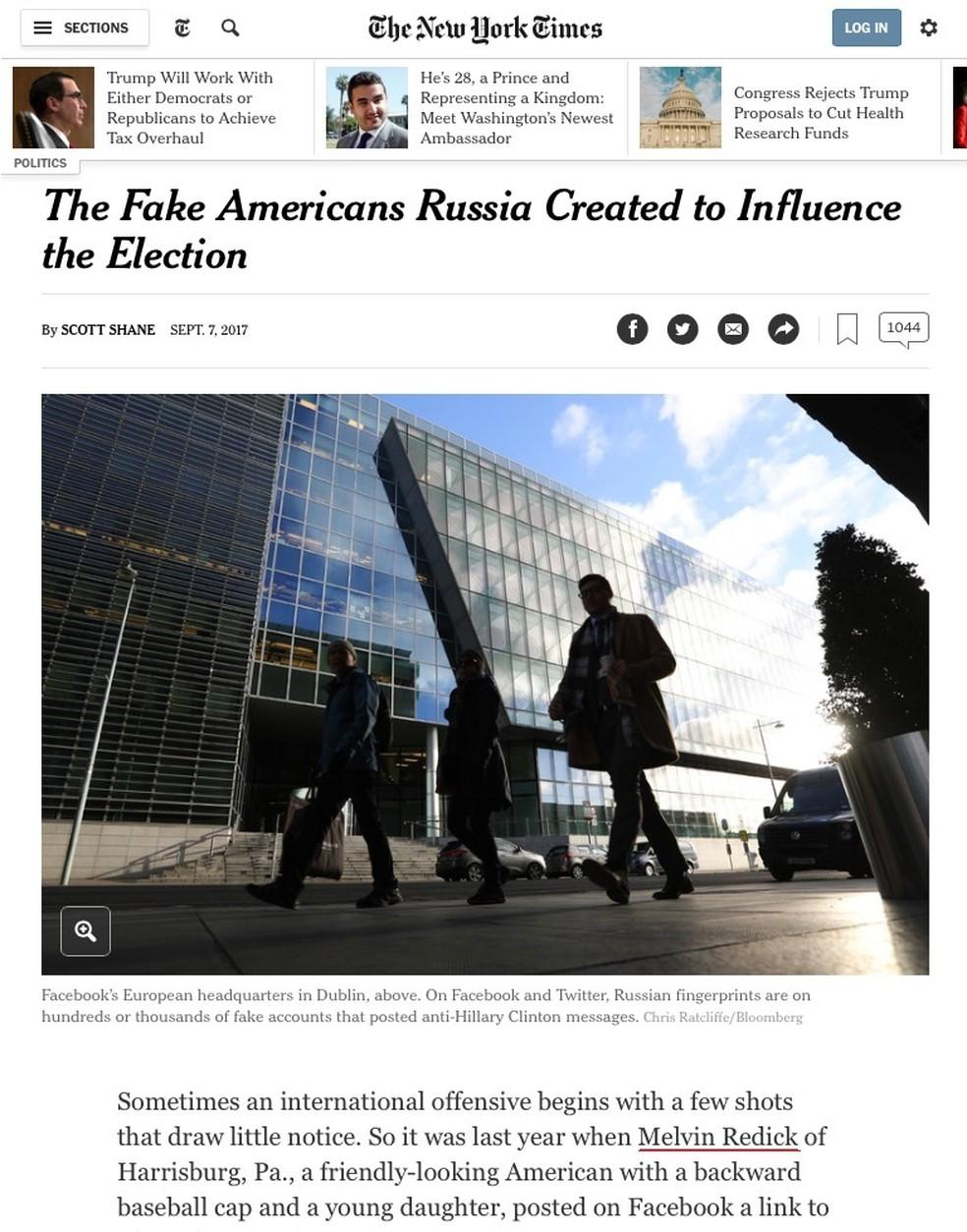 Reprodução de reportagem do 'NY Times' mostra o nome Melvin Redick, um dos perfis falsos usados para influenciar a eleição dos EUA (Foto: Reprodução/NY Times)