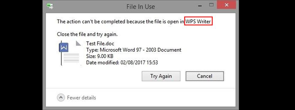 Windows informando que o arquivo está aberto em outro app — Foto: Edivaldo Brito/TechTudo