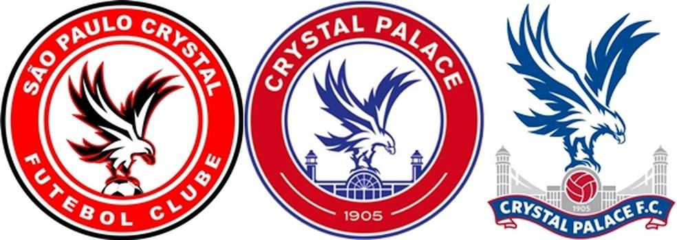 À esquerda, o escudo do clube paraibano: ao centro, o do Crystal Palace da década de 1980; à direita, o atual escudo do clube inglês (Foto: GloboEsporte.com/pb)