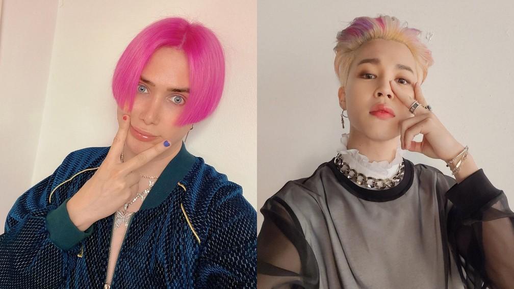 Oli London e Park Jimin: Influencer britânico se submete a 18 cirurgias para se parecer com cantor do BTS — Foto: Reprodução/Instagram