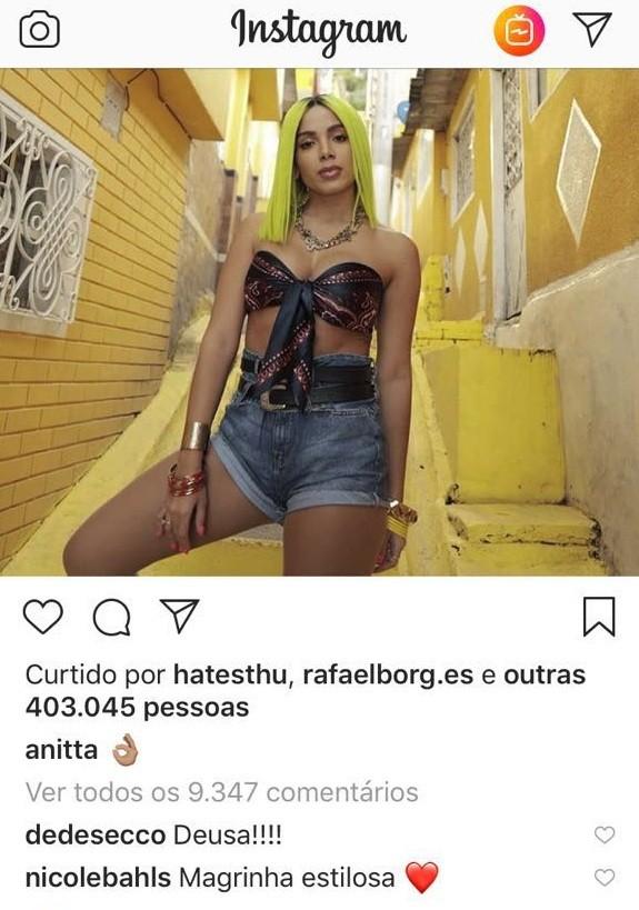 Publicação da Anitta (Foto: Reprodução/Instagram)