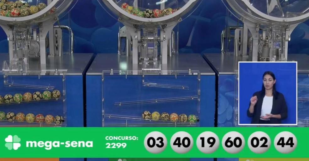 Números sorteados da Mega-Sena, concurso 2299 — Foto: Reprodução/Caixa