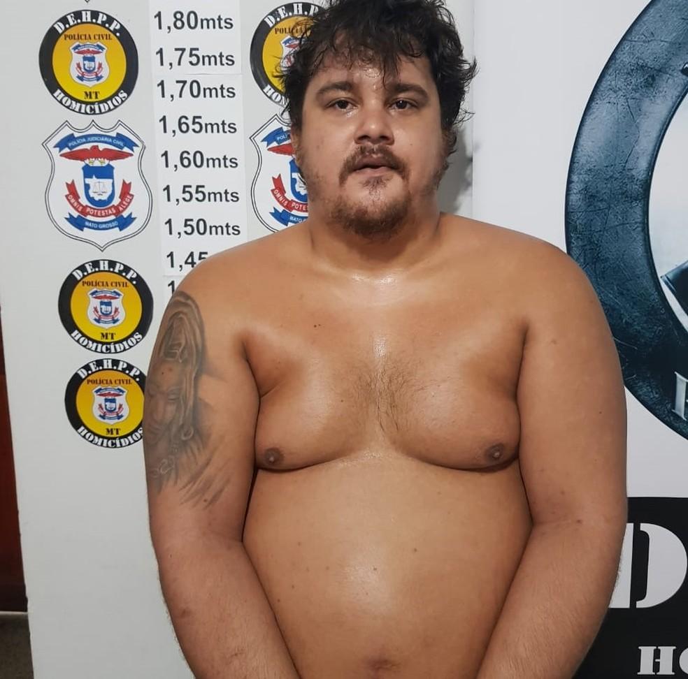Wanderson Delmon Rego, conhecido como 'Gordinho', preso em Cuiabá — Foto: Polícia Civil - MT