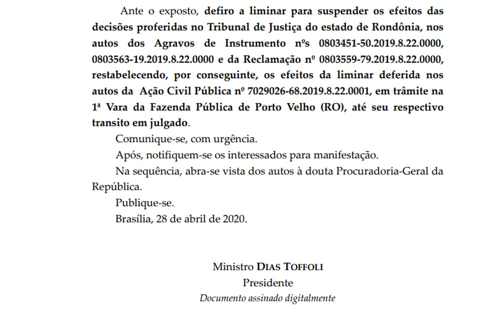 STF suspende pagamento de pensões de R$ 25 mil a ex-governadores de RO e dependentes — Foto: Reprodução