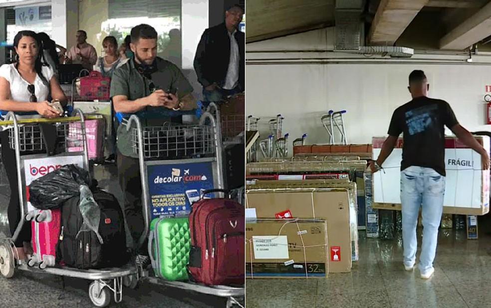 A caminho de casa, cubanos chegam a aeroporto de Brasília levando TVs na bagagem — Foto: Marília Marques/G1; Reprodução/GloboNews