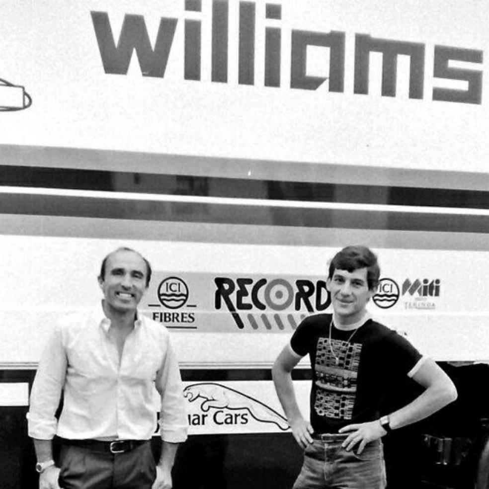 Ayrton Senna Frank Williams Donington Park teste com carro da Williams 1983 — Foto: Reprodução / Twitter
