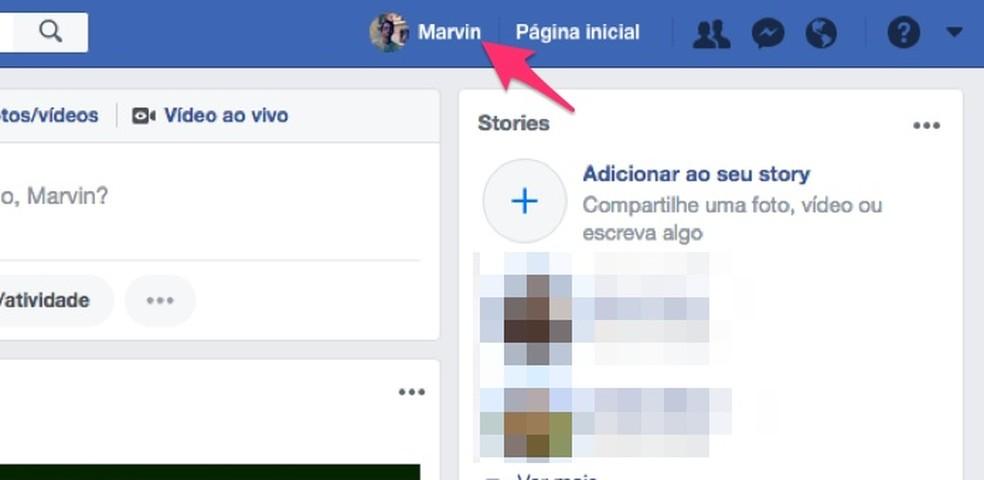 Caminho para acessar o perfil de usuário do Facebook (Foto: Reprodução/Marvin Costa)