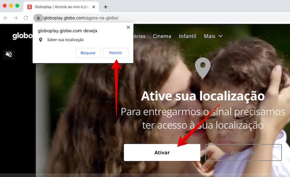 Permita que o Globoplay acesse a sua localização — Foto: Reprodução/Helito Beggiora