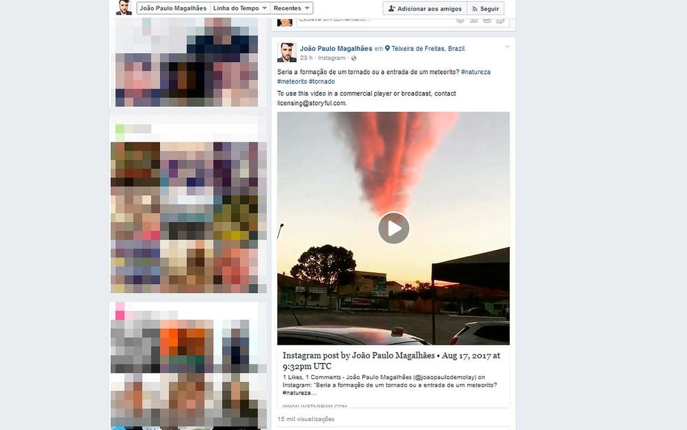 Vídeo de João Paulo compartilhado no facebook já teve  15 mil visualizações  (Foto: Reprodução/Facebook)