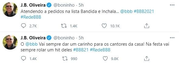Boninho comenta sobre músicas da festa do 'BBB' 21 (Foto: Reprodução)