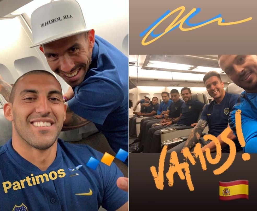 Ábila compartilha foto com Tevez, e Benedetto mostra outros jogadores do Boca Juniors no avião rumo a Madri para a final da Taça Libertadores — Foto: Reprodução de Instagram