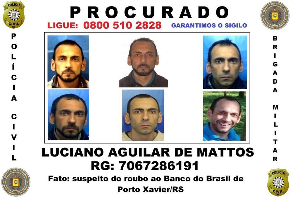 Suspeito apontado pela polícia como participante do roubo a banco em Porto Xavier — Foto: Divulgação/Polícia Civil