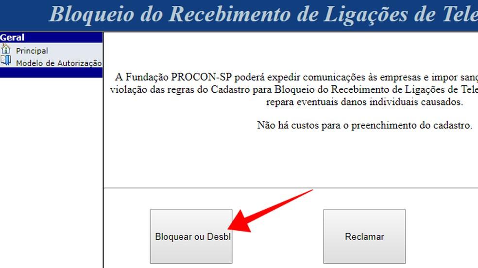 Acesse o sistema de bloqueio de telemarketing do Procon-SP — Foto: Reprodução/Paulo Alves