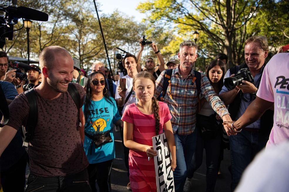 Greta Thunberg depois do discurso durante evento da greve global pelo clima em Nova York. — Foto: Joel Marklund / BILDBYRÅN/Reuters