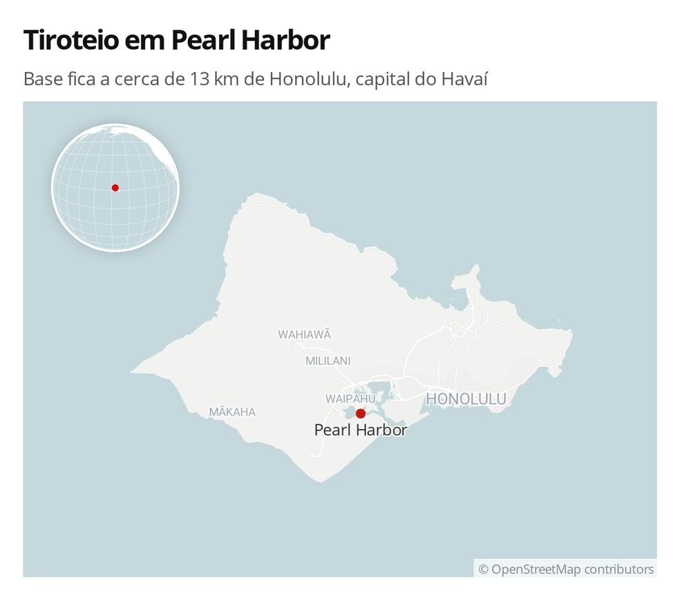 Base onde ocorreu o tiroteio fica a cerca de 13 km de Honolulu, capital do Havaí — Foto: G1