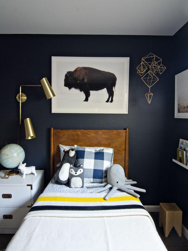 Décor do dia: paredes pretas no quarto infantil (Foto: reprodução)