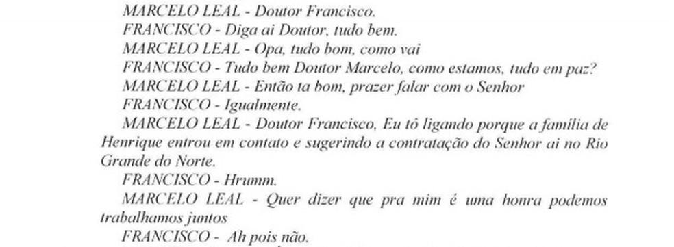 Diálogo mostra que Francisco Barros foi procurado para atuar na defesa de Henrique Alves (Foto: Reprodução)