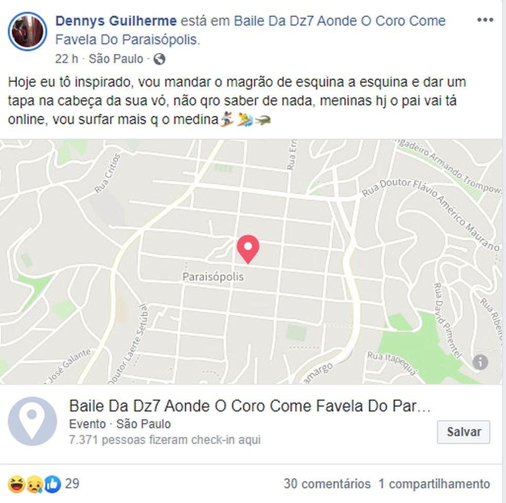Dennys Guilherme postou em rede social que estava no baile em Paraisópolis na madrugada de domingo (1) — Foto: Reprodução