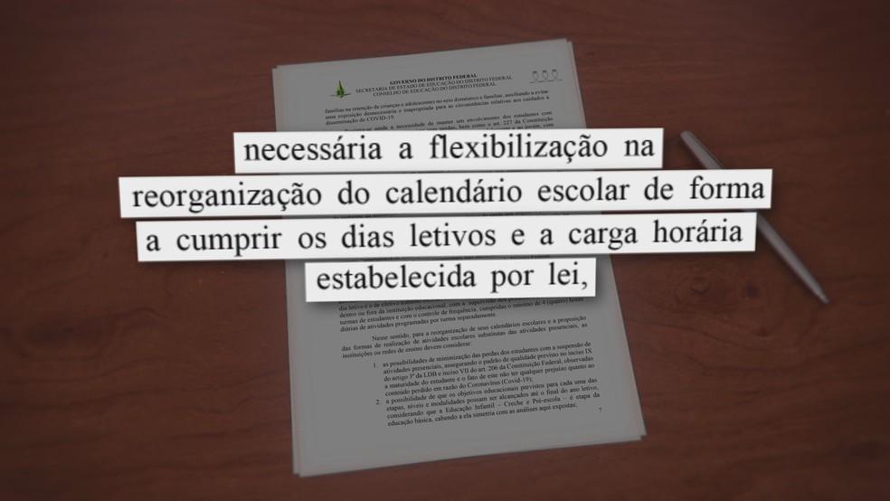 Conselho de educação propõe aulas a distância em todas escolas do DF — Foto: TV Globo/Reprodução