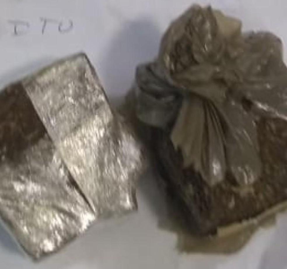 Droga encontrada nas partes íntimas de mulheres durante visita a presídio — Foto: Divulgação/Sinpoljuspi
