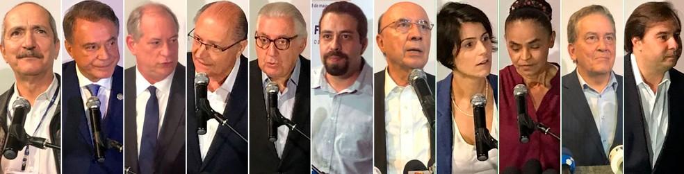Presidenciáveis durante encontro em Niterói, RJ (Foto: Henrique Coelho e Matheus Rodrigues/G1)