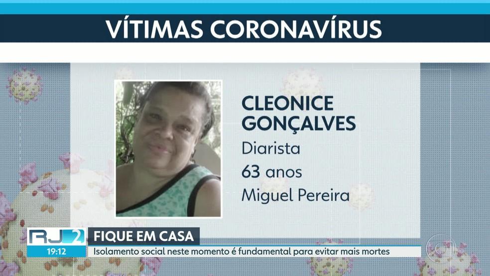 Aos 63 anos, a diarista Cleonice foi a primeira vítima da Covid-19 no RJ — Foto: Reprodução/TV Globo