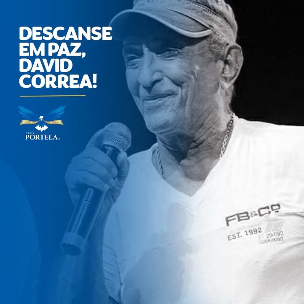 Compositor David Corrêa é lembrado nas redes sociais da Portela — Foto: Reprodução
